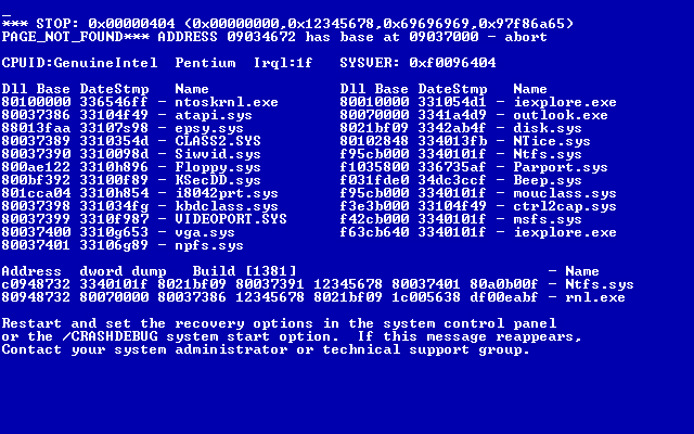 Blue Screen Faults
